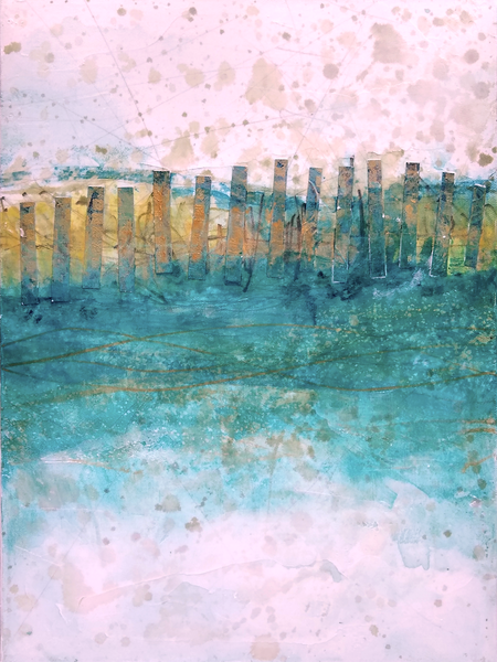 Sand Fences, WInter 1 - Original Abstract Painting & Print | Cynthia Coldren Fine Art