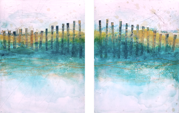 Sand Fences, Spring (Diptych) - Original Abstract Painting | Cynthia Coldren Fine Art