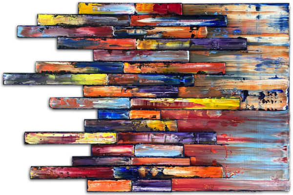 Stacking Up assemblage sculptural painting