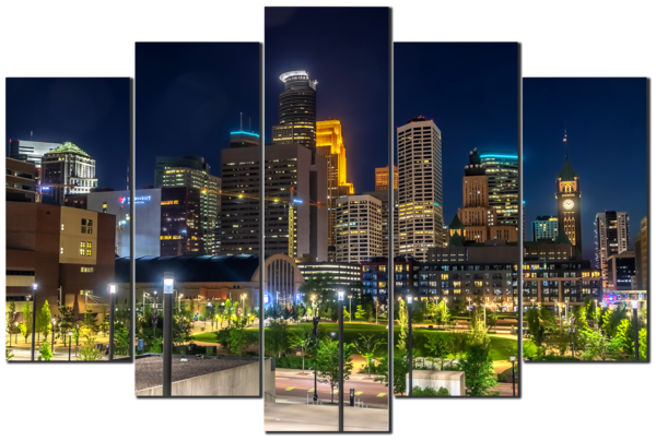 The Commons Skyline - Minneapolis 5-Piece Canvas Art