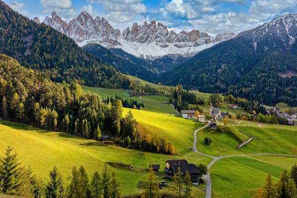 Art Print Santa Maddalena Val di Funes Italy Odle Mountain Peaks