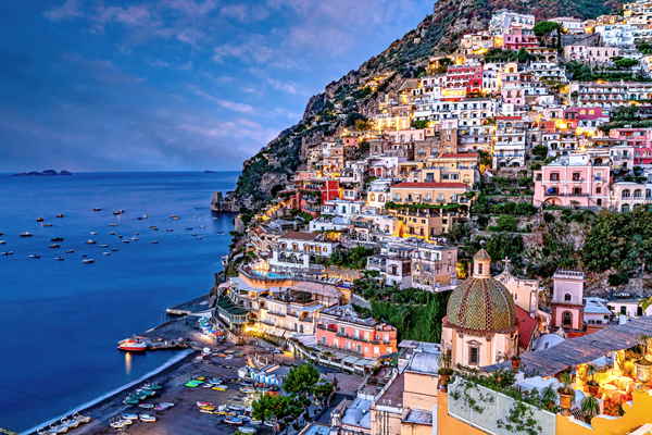 Art Print Positano Amalfi Coast Italy Morning Light