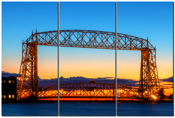 Duluth Lift Bridge at Dawn - 3-Panel Acrylic Art