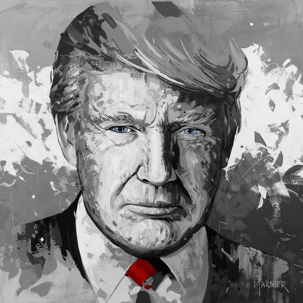 Donald Trump Black & White, 45th President of the United States, Marnier, Art, Prints, Acrylic Painting