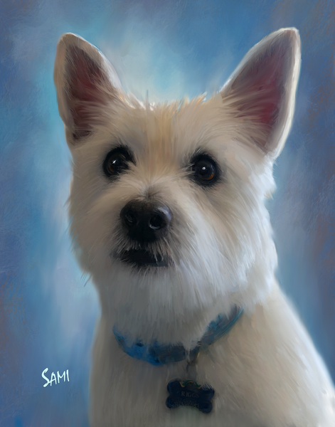 Riggs the Westie Pet Portrait Painting for Sale | Sami's Art Shop