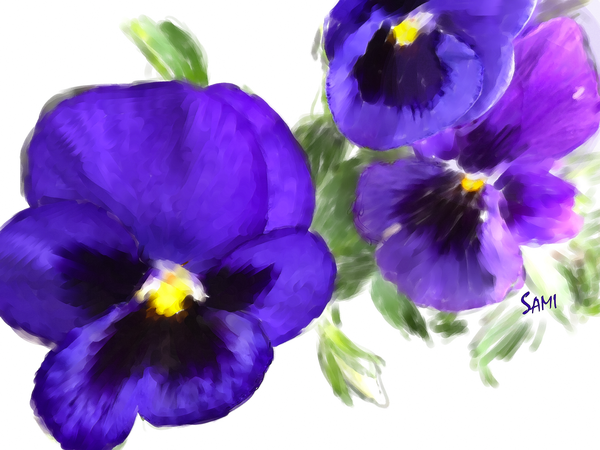 Purple Pansies Painting for Sale | Sami's Art Shop