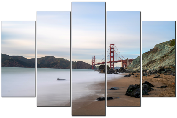 Golden Gate and Marshall's Beach - San Francisco 5-Piece Canvas Art
