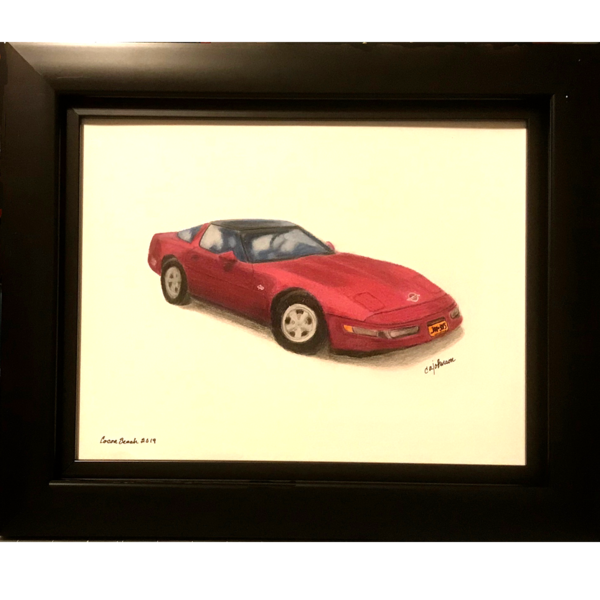 Commissions for Cars and Motorcycles, Original Colored Pencil Painting