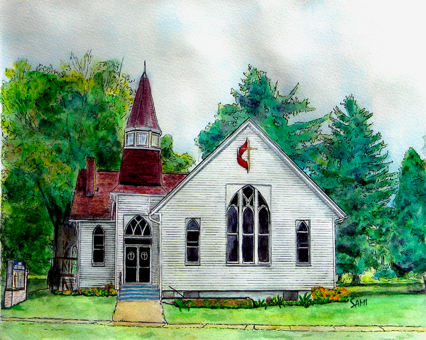 Clinton Ohio Methodist Church Painting for Sale | Sami's Art Shop