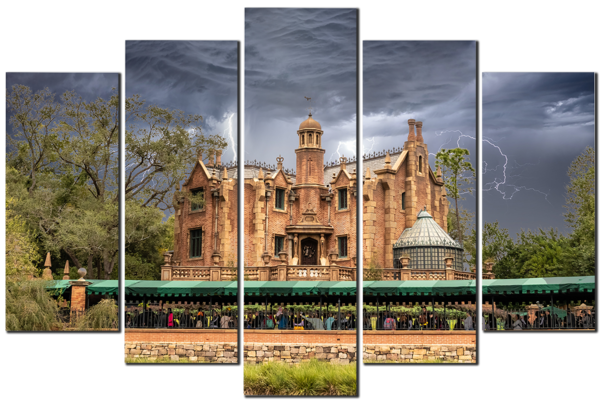 Stormy Haunted Mansion - Disney 5 Piece Canvas Art