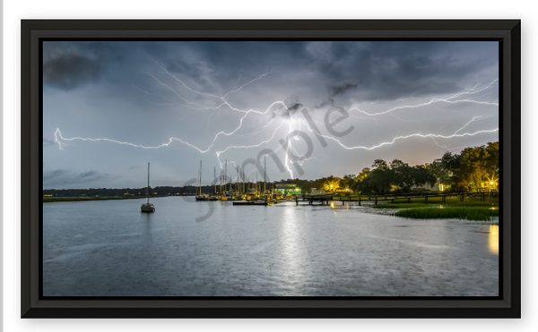 Lady's Island Lightning 36 X20 Metal Photography Art | Phil Heim Photography