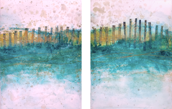 Sand Fences, Winter (Diptych) - Original Abstract Painting | Cynthia Coldren Fine Art