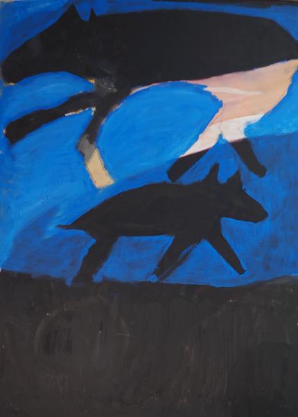Two Dogs Running Art   stephengerstman