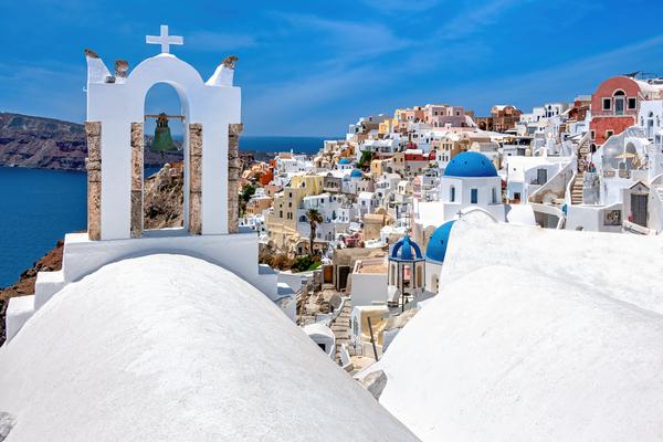 Art Print Oia Santorini Greece Blue Domes