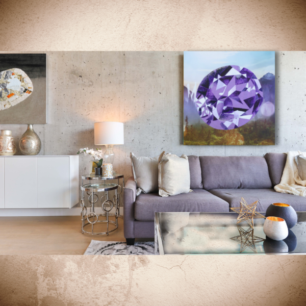 'Logi' Buff-top Oval Amethyst, Jewel Art by Upcycling Artist S.P. from Cool Art House