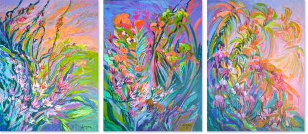 Radiance, Jewels & Unfettered Desires Triptych Art | Dorothy Fagan Joy's Garden