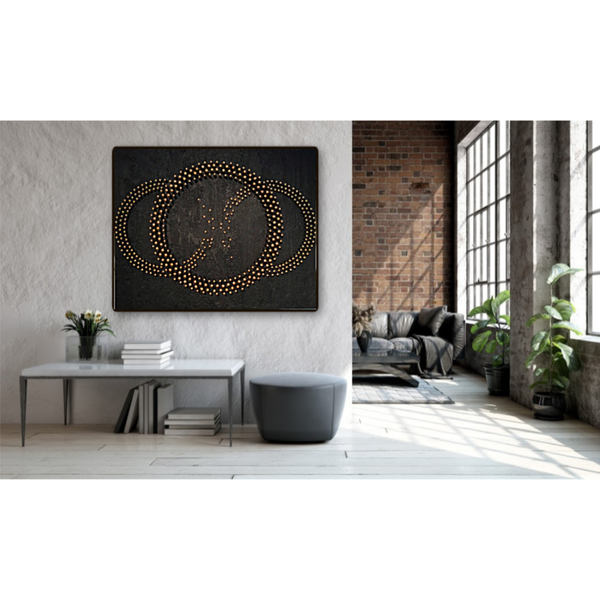Burnt Interlocking Enso Mixed Media Wood Carved Sculpture Art by Andrew from Cool Art House