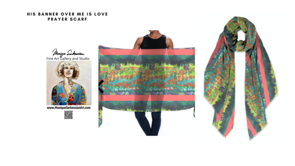 Handprinted modal scarf with Let My Beloved Come Into His Garden by Monique Sarkessian prophetic art image.