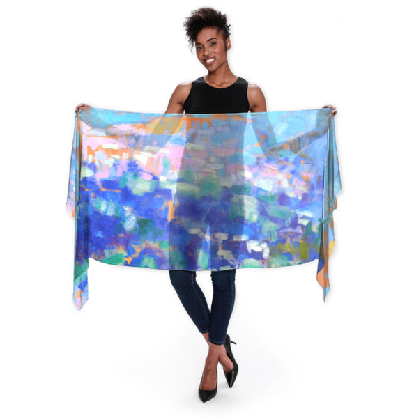 Meet Me At The Edge Of Dreams Wrap Scarf | Dorothy Fagan Joy's Garden