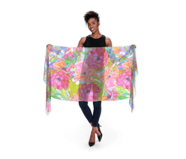 Wildflower Jewels Wrap Scarf | Dorothy Fagan Joy's Garden