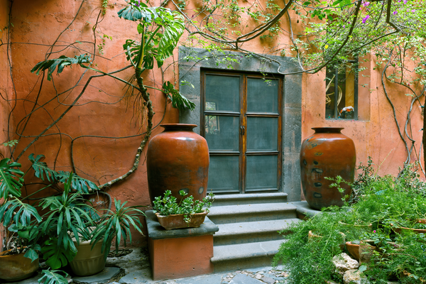 Art Print San Miguel De Allende Mexico Twin Garden Vases