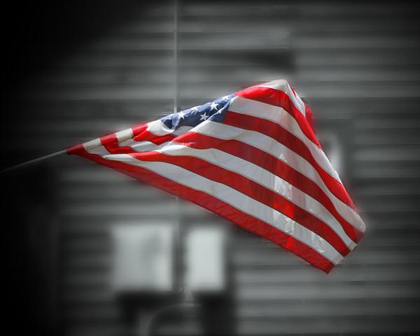 Flag Against Bw Photography Art | Happy Hogtor Photography