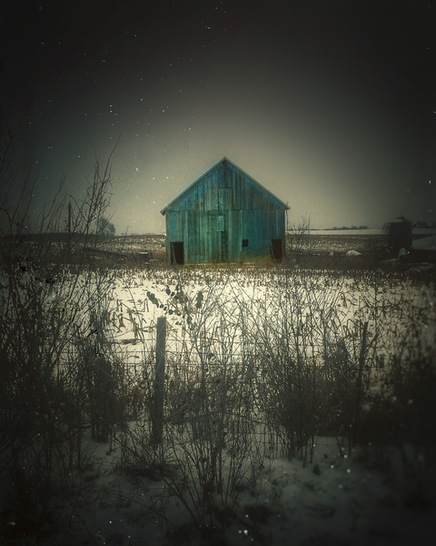 Blue Barn In Snow 2 Photography Art | Happy Hogtor Photography