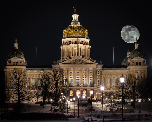 Super Moon Iowa Capitol Winter Photography Art | Happy Hogtor Photography