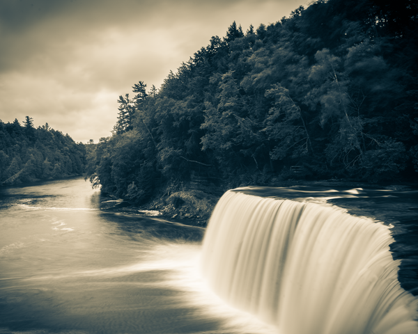 Tahquamenon Falls Sepia Photography Art | Happy Hogtor Photography