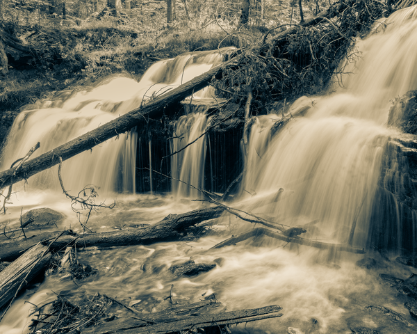 Wagner Falls Sepia Photography Art | Happy Hogtor Photography