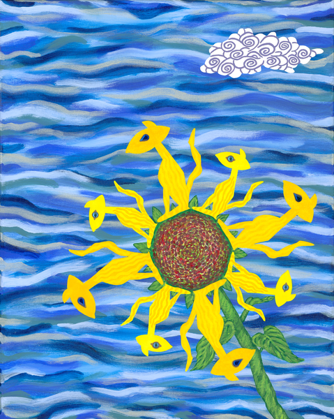 Sun Cat Flower Art | Off The Edge Art