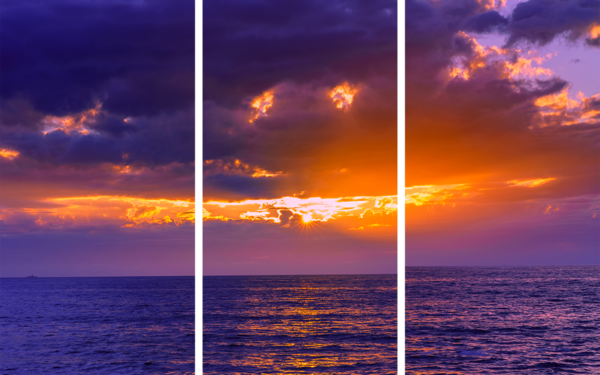 Sunset Cliffs Purple Sunset Acrylic Triptych -  by McClean Photography