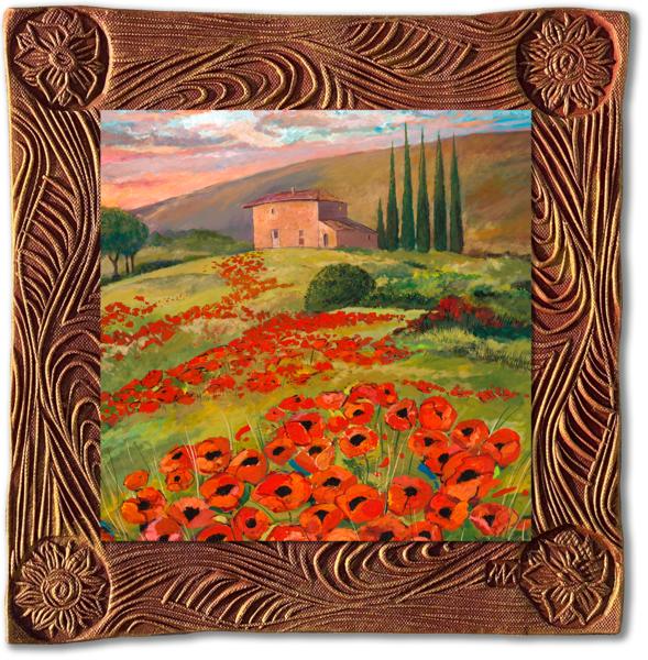 Tuscany Poppies   Sq/Italy Collection Art | KenarovART Inc