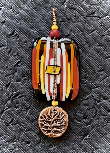 Tree Of Life Ii Pendant I Fused Glass & Ceramic Art | KenarovART Inc