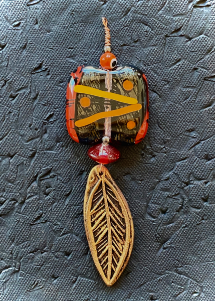 Feather Pendant I Fused Glass & Ceramic Art | KenarovART Inc