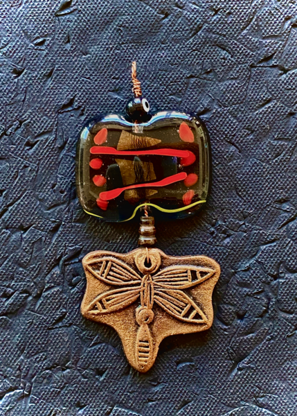 Dragonfly Pendant | Fused Glass & Ceramic Art | KenarovART Inc