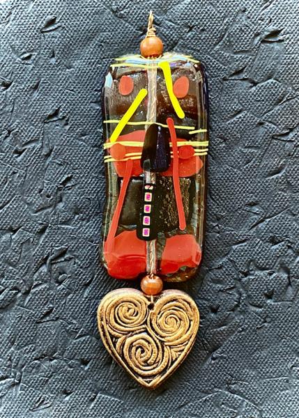 Heart Pendant I | Fused Glass & Ceramic Art | KenarovART Inc