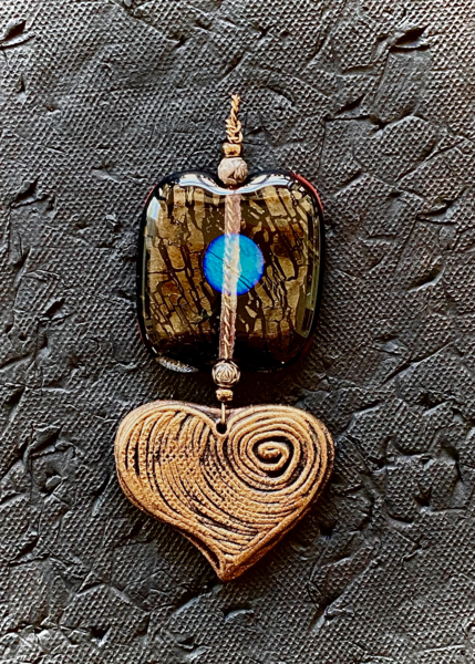 Heart Pendant Iii I Fused Glass & Ceramic Art | KenarovART Inc