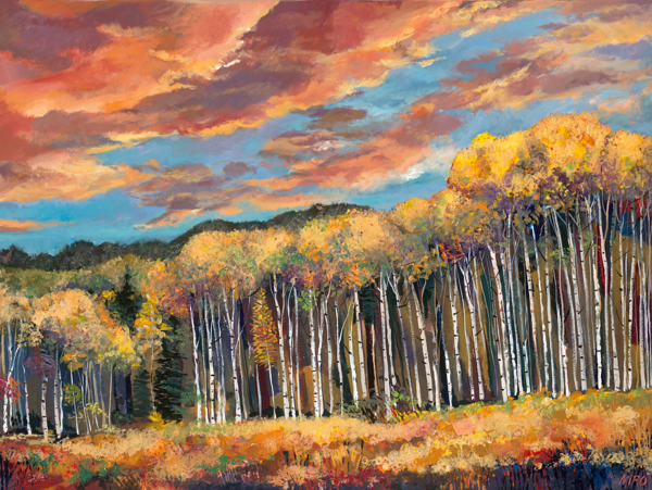 Sunset Aspens/Art On Paper Art | KenarovART Inc