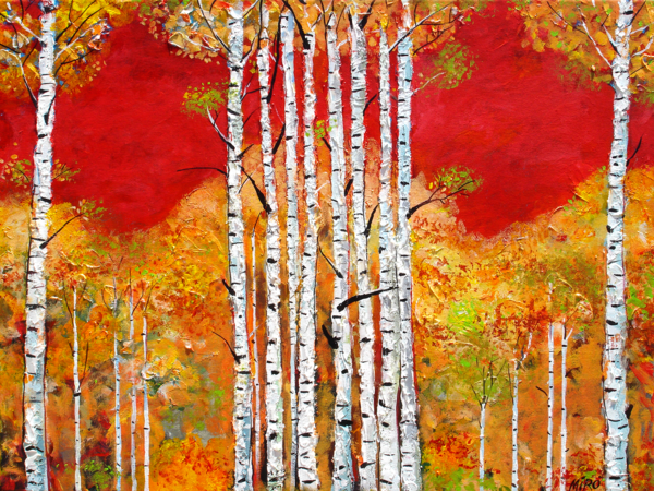 Red Sky Aspens/Art On Paper Art | KenarovART Inc