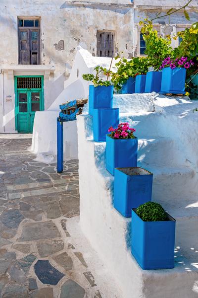 Art Print Old Market Naxos Greece Blue on White