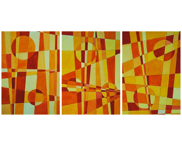 Triptych   Yellows, Oranges And Reds Art | Sharon Bacal - Fine Art
