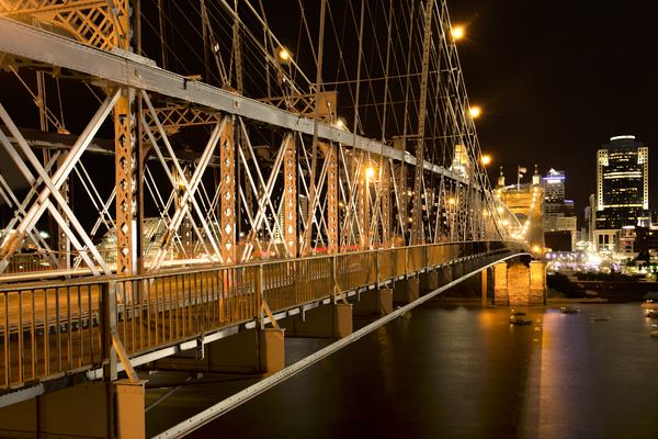 Roebling Bridge At Night Girders Photography Art | Eric Hatch