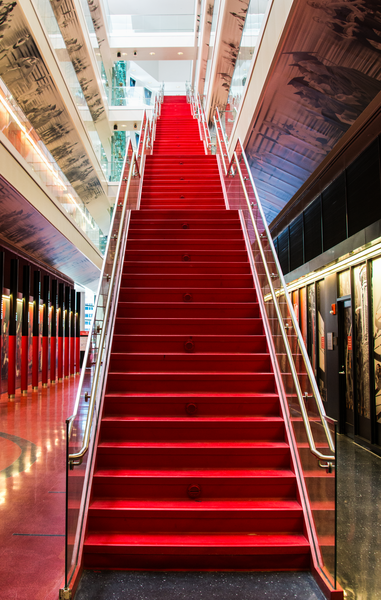 Red Staircase Univ Of Cincinnati Basketball Arena Photography Art | Eric Hatch