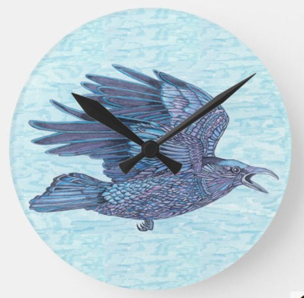 Flying Raven wall clock featuring bird art by Judy Boyd watercolors
