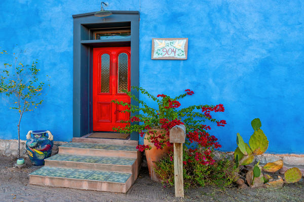 Art Print Tucson Arizona Rojo Door and Azul Wall