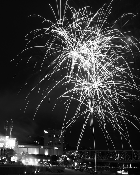 Cincinnati Fireworks Bw Photography Art | Eric Hatch