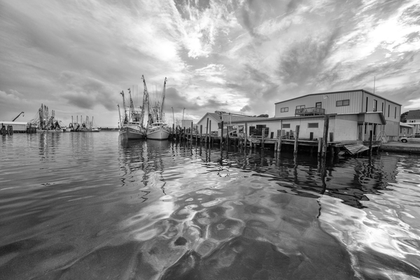 Shrimpboats In The Evening Bw Photography Art | Hatch Photo Artistry LLC