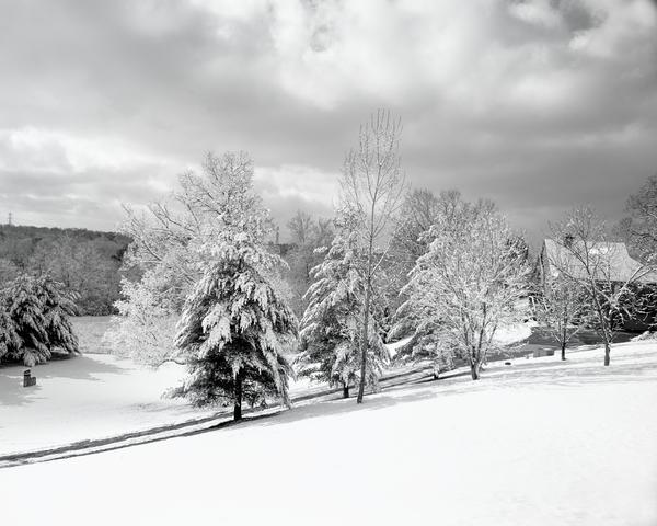 Snowy Hillside Bw 5x4 Photography Art | Eric Hatch