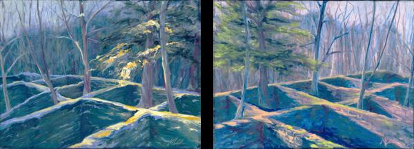 Seasons Lost (Diptych Original) Art | Michelle Lee Arts